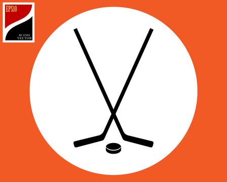 icon two hockey sticks puck black Ilustração