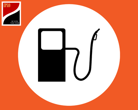vector icon gasoline refueling appliances in black color in a circle