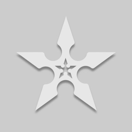 shuriken ninja weapon icon in light color with shadow on gray background Ilustrace