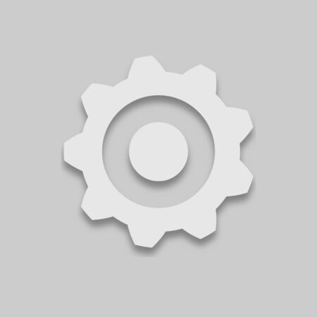 gear with teeth in a bright tone with a shadow on a gray background Иллюстрация