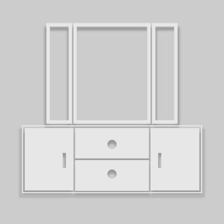 cabinet icon with mirrors in bright colors with a shadow on a gray background