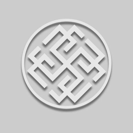 icône de signe slave rodovik dans un style clair avec ombre sur ton gris