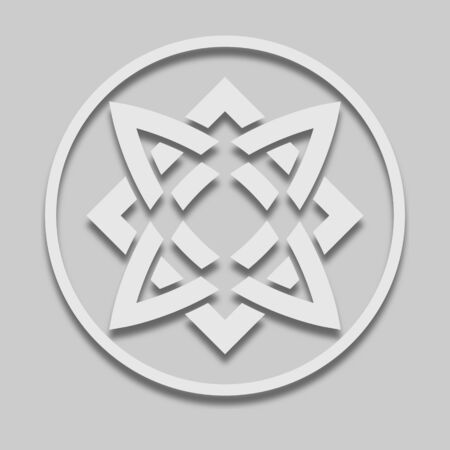 Slavic sign icon in light tone with shadow on gray background.