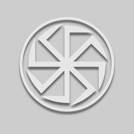 Icône de signe slave Kolovrat dans un style clair avec ombre sur ton gris