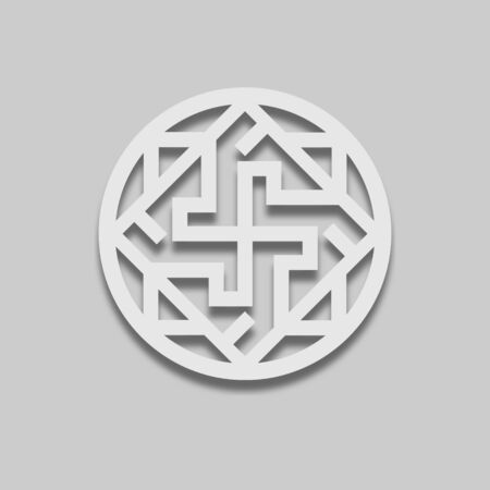 Slavic sign in a light style icon in light style with shadow on gray tone