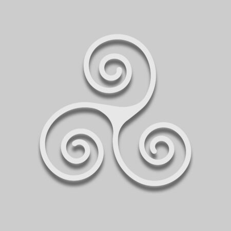 scandinavian symbol trixelion in a light tone with a shadow on a gray background