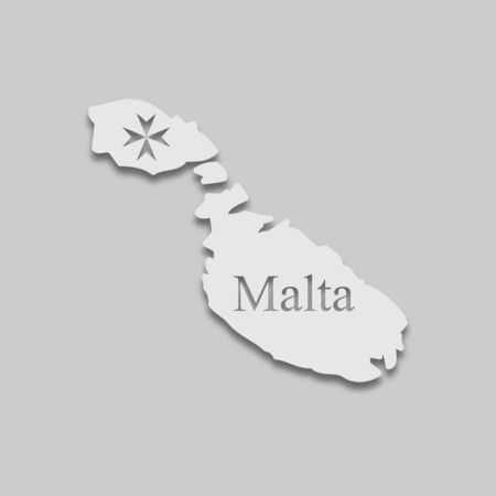 map of Malta in light color with a shadow on a gray background. Illustration