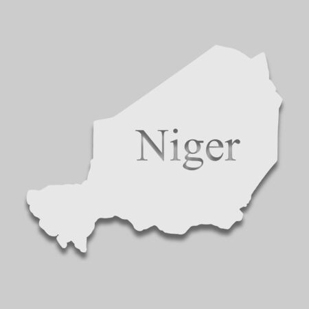 map of Niger in light color with a shadow on a gray background.