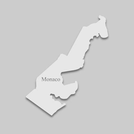 map of Monaco in light color with a shadow on a gray background.