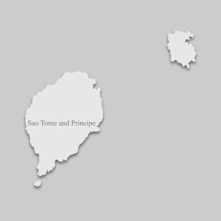 Map of Sao Tome and Principe in light color with a shadow on a gray background. Ilustração