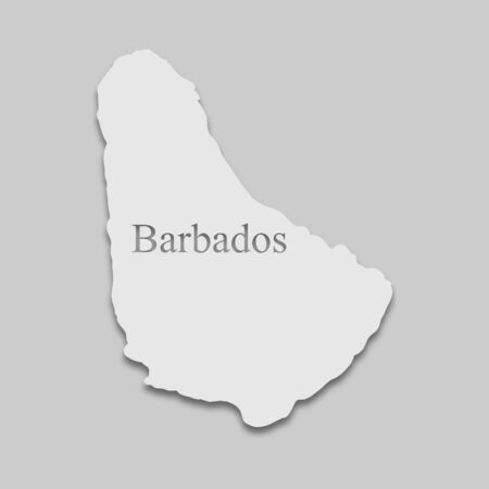 map of Barbados in a bright tone on the gray background