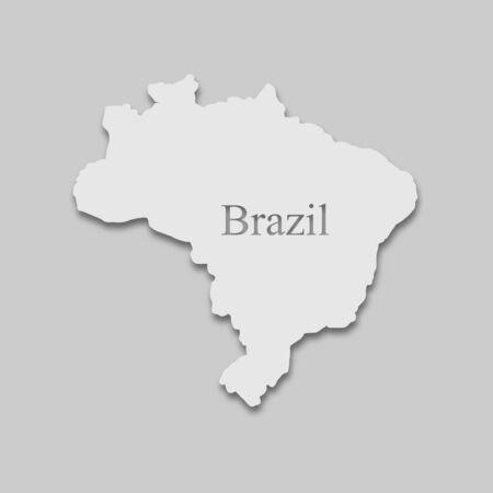 map of Brazil in a bright tone on the gray background Ilustração