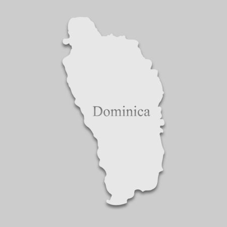 map of Dominica in a bright tone on the gray background