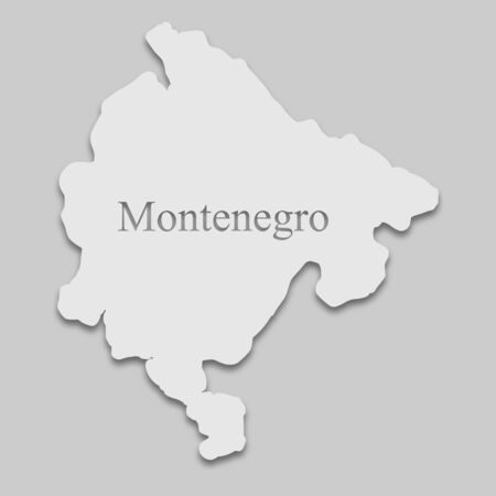 map of Montenegro in a bright tone on the gray background