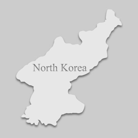 Map of North Korea in a bright tone on the gray background Illustration