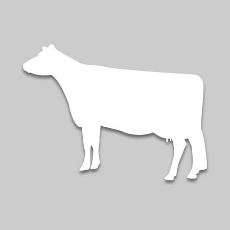 pet cow in bright tone in bright colors in bright colors with a shadow on a gray background