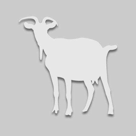 animal goat in a light tone with a shadow on a gray background