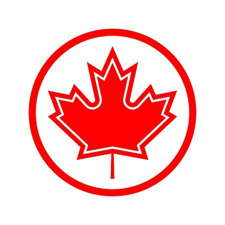 maple leaf in a red circle on a white background