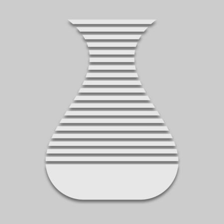 vase with stripes in bright colors with a shadow on a gray background Çizim