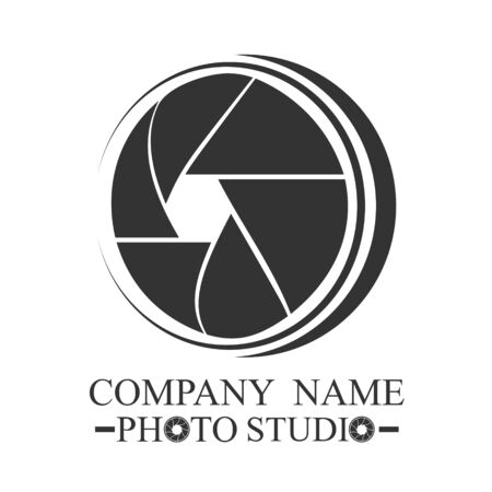 logo for a photo in a gray style on a white background Ilustracja