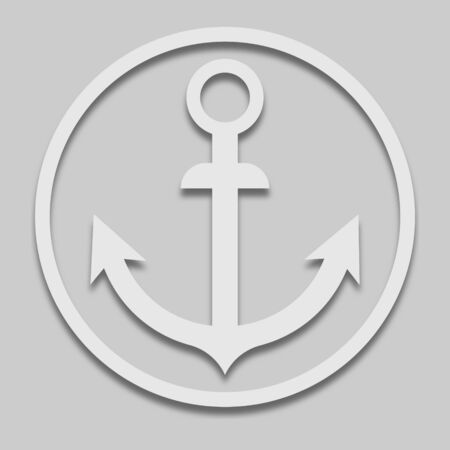 ship anchor in bright tone with a shadow on a gray background