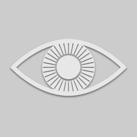 Eye icon in white style with shadow isolated on grey background Ilustracja