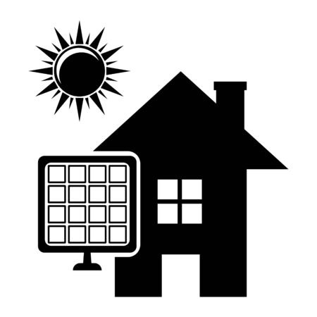 solar battery house and sun in bright tone with a shadow on a gray background