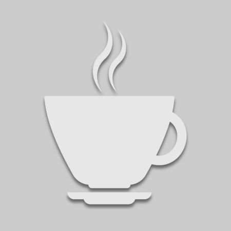 cup of coffee in a light tone with a shadow on a gray background