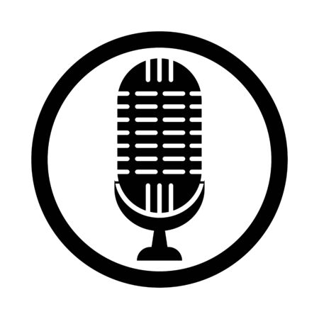 microphone for singing in a circle of black color on a white background