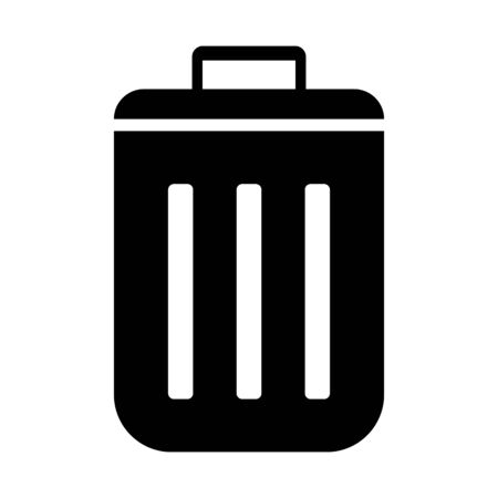 bin in black tone in a circle on a white background