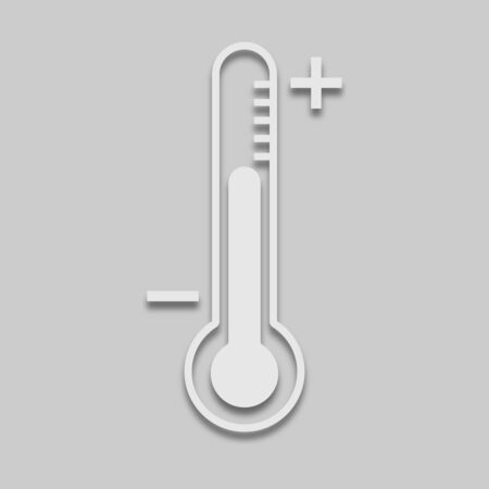 thermometer icon of air measurement in light tone with shadow on a gray background
