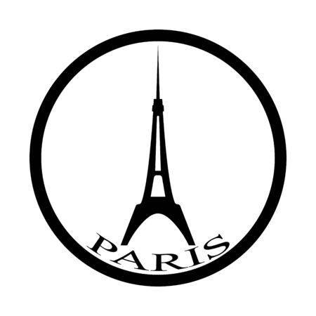 eiffel tower in black tone in a circle on a white background