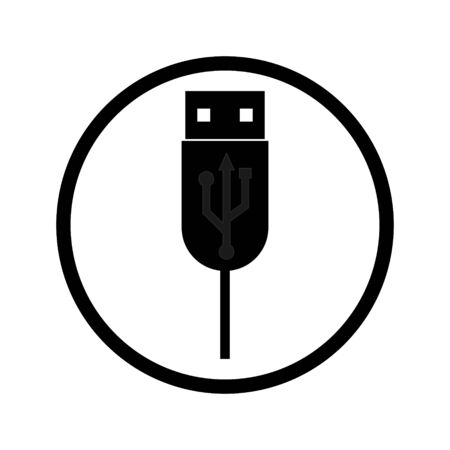 black usb port connector in a circle and wire on a white background Ilustracja