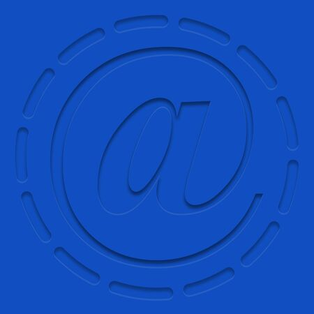 Mail icon in blue style with shadow on a blue background Ilustracja