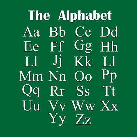English alphabet in white tone on a green background