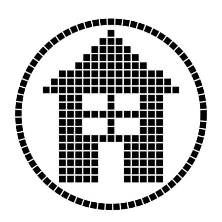 pixel house in a circle in black on a white background