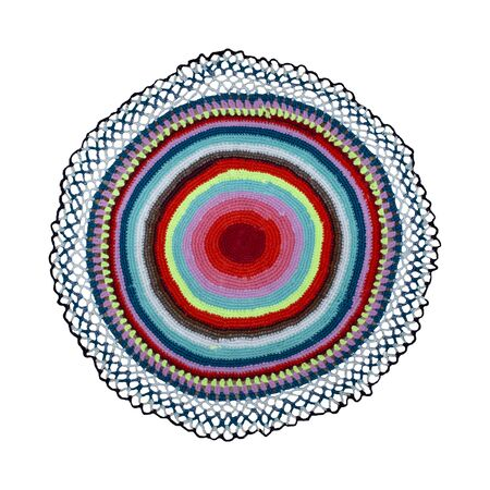 round foot mat with multi-colored threads on a white background