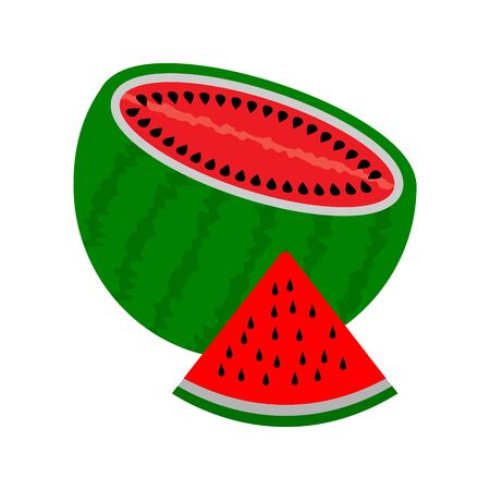 sliced watermelon with pits and a slice of watermelon on a white background Ilustracja