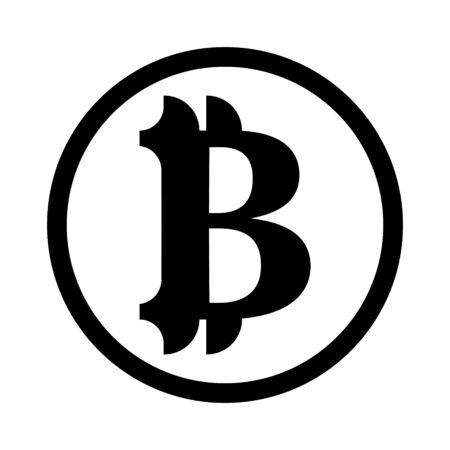 Bitcoin sign vector in black tone on a white background