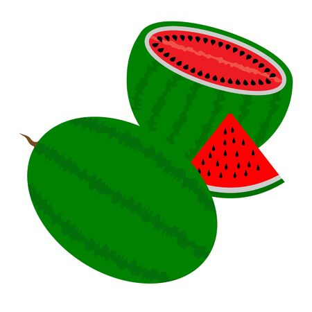 two watermelons one cutaway with a slice on a white background