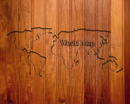 World map on a brown blackboard with the inscription