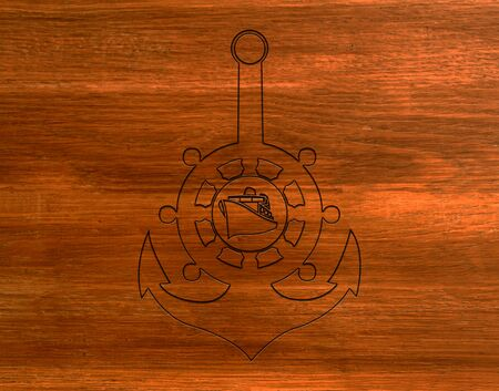sea anchor and ship on a brown board