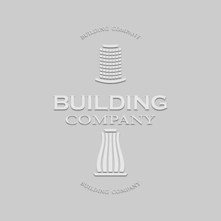 logo of a construction company in a light tone with a shadow on a gray background Stock Illustratie