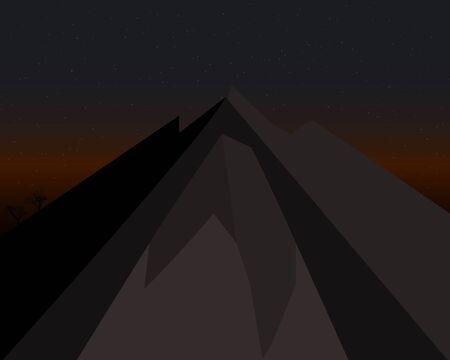mountain at night stars and dark sky with tree Stock Illustratie