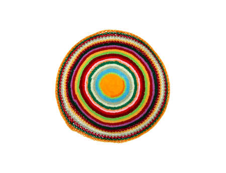 knitted round shape foot mat on a white background