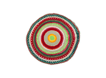 knitted circle for legs in different colors on a white background