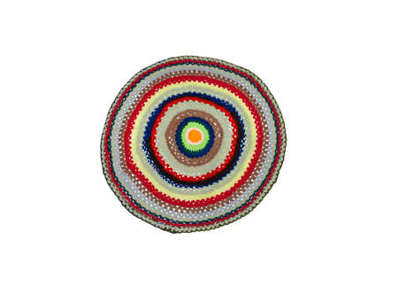 knitted foot mat in different colors on a white background