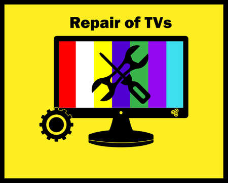TV repair in black colors on a yellow background