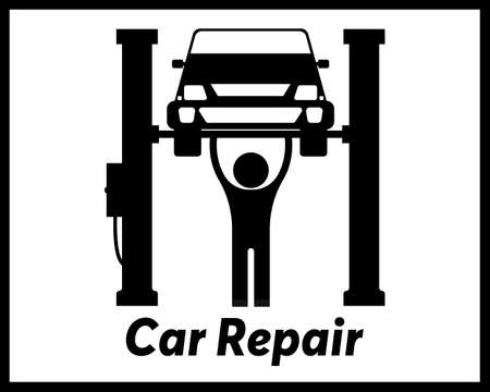 Car Repair in a black tone in a raised state on a white tone Stock Illustratie