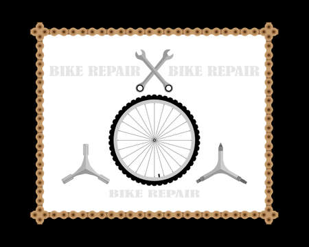 bicycle keys and wheel with inscriptions on white and black background Stock Illustratie